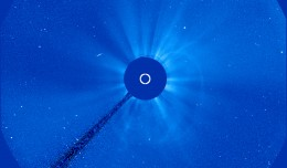 The Solar and Heliospheric Observatory (SOHO) captured this image of the sun at 5:06 a.m. EDT on Oct 5, 2012 showing a coronal mass ejection (CME) spreading away from the sun toward Earth. Credit: SOHO (ESA & NASA)