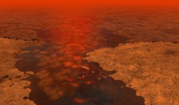 This artist's concept envisions what hydrocarbon ice forming on a liquid hydrocarbon sea of Saturn's moon Titan might look like. A new model from scientists on NASA's Cassini mission suggests that clumps of methane-and-ethane-rich ice--shown here as the lighter-colored clusters--could float under some conditions. Image Credit: NASA/JPL-Caltech/USGS, 01-08-2013.