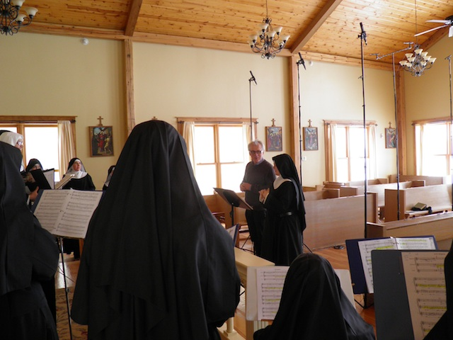 With nine-time Grammy winning producer Christopher Alder during the recording of Angels and Saints at Ephesus at the Priory of Our Lady of Ephesus, February 26-28, 2013. 'Christopher made the recording sessions very peaceful and enjoyable,' says Sr. Scholastica