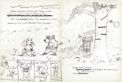 Matt: 'This is the final dummy sketch for a spread in the book. This is the way the whole dummy looked. Along with the dummy, I sent 'tests' (such as, the sheep and boy switching brains [pictured below])…' (Click to enlarge)