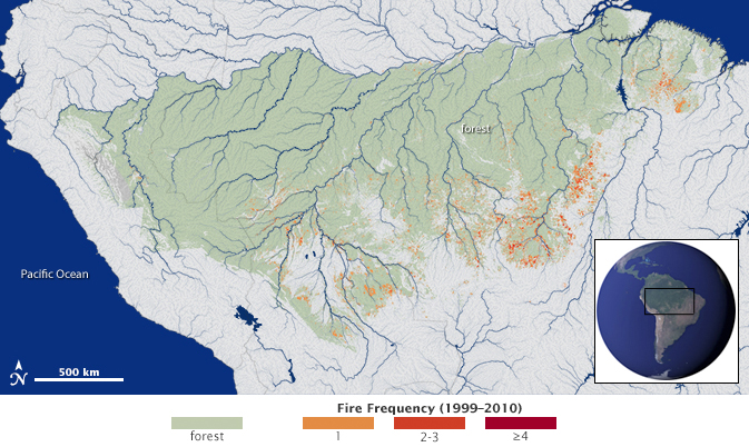 Researchers for the first time mapped the extent and frequency of understory fires across a study area (green) spanning 1.2 million square miles (3 million square kilometers) in the southern Amazon forest. Fires were widespread across the forest frontier during the study period from 1999-2010. Recurrent fires, however, are concentrated in areas favored by the confluence of climate conditions suitable for burning and ignition sources from humans. Credit: NASA's Earth Observatory