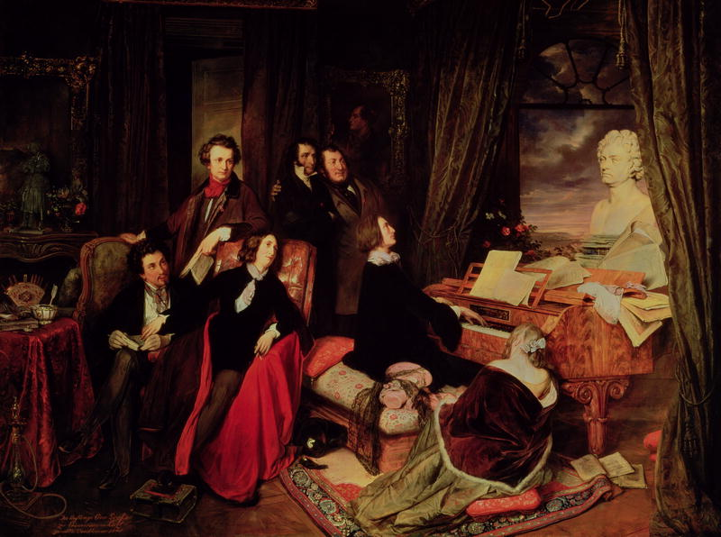 Franz Liszt Fantasizing at the Piano (German: Franz Liszt, am Flügel phantasierend, sometimes as Eine Matinée bei Liszt), a painting (119 x 167 cm) of Franz Liszt playing in a Parisian salon a grand piano by Conrad Graf, who commissioned the painting; on the piano is a bust of Ludwig van Beethoven by Anton Dietrich; the imagined gathering shows seated, from left, Alexandre Dumas (père), George Sand, Franz Liszt, Marie d'Agoult; (standing) Hector Berlioz or Victor Hugo, Niccolò Paganini, Gioachino Rossini; a portrait of Byron on the wall behind them, and, on the far left,  a statue of Joan of Arc.
