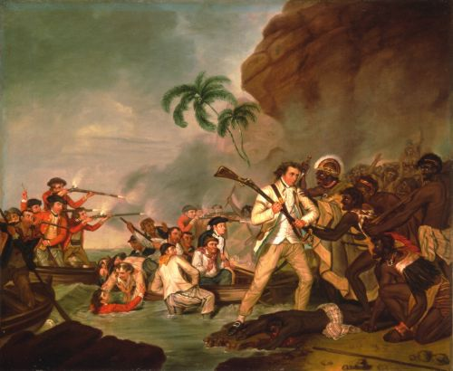 Death of Captain Cook. Oil on canvas by George Carter, ca. 1783 (courtesy Bishop Museum Archives)