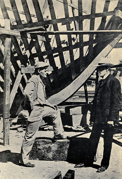 Jack London (left) during the building of the Snark, 1906