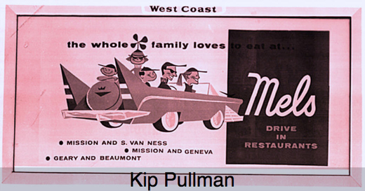 A typical 1950s billboard advertising 3 Mel's locations in San Francisco.