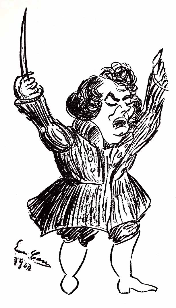 Caruso's caricature of himself as Federico Loewe in Franchetti's Germania