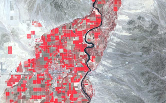 Irrigated crop fields show up as red boxes on this satellite image of the Sonoran Desert. Image Credit: Northern Arizona University.