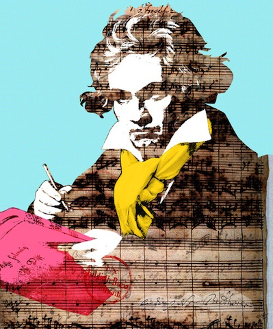 '…for to him, the magic is child's play.' (Beethoven art print by Marko Kôppe. Gallery quality Giclée print on natural white, matte, ultra smooth, 100% cotton rag, acid and lignin free archival paper using Epson K3 archival inks. Custom trimmed with one-inch border for framing. Available for purchase at society6, http://society6.com/product/Ludwig-van-Beethoven-4_Print)