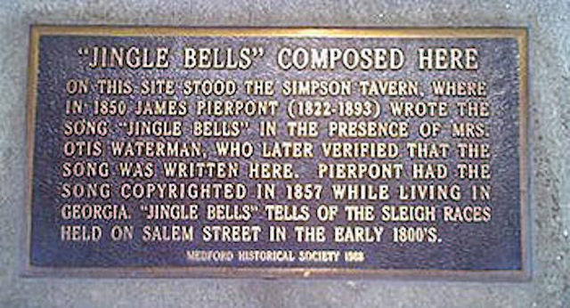 Medford's plague marking the spot where Pierpoint wrote 'Jingle Bells'