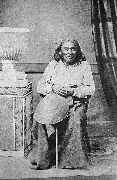 Chief Sealth, for whom Seattle is named, is buried in Suquamish, Washington, on the Port Madison Indian Reservation. This photo by E.M. Sammis taken in 1864 is the Chief's only sitting portrait.