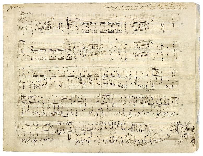 Autographed partiture by the Polish composer Frédéric Chopin of his Polonaise Op. 53 in A flat major for piano, 1842.