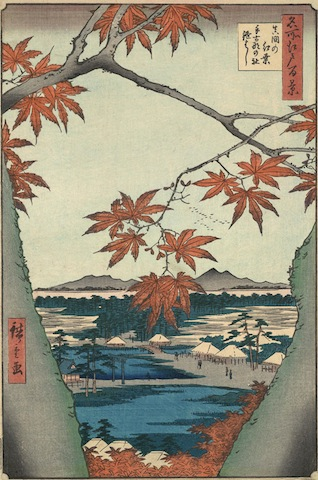 Ukiyo-e, 'pictures of the floating world': Utagawa Hiroshige (Japanese, 1797–1858), Maple Leaves at Mama, Tekona Shrine, and Linked Bridge, #94 from the series One Hundred Famous Views of Edo, 1857. Color woodblock print. Bequest of William P. Chapman, Jr.