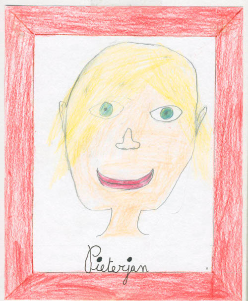 A self-portrait drawn by Klaas's son Pieterjan, whose questions were the inspiration for Applesauce
