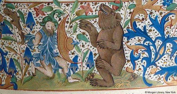 Dancing Bears as depicted in the Book of hours, c. 1410