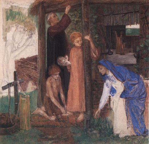 Passover in the Holy Family: Gathering Bitter Herbs (Dante Gabriel Rosetti, 1828-1882)