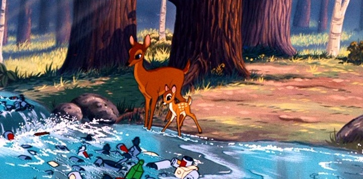 Bambi and his mother make a cameo appearance in 'No Hunting'