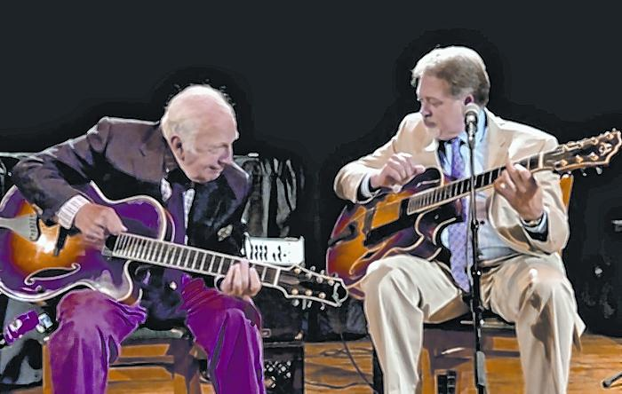 Bucky Pizzarelli with Ed Laub. Of the Three for All sessions, Laub says: 'The charm of this album is that both John and I learned from Bucky, and our technique, touch, chord voicing and the voicing of the guitar are so similar. Thus the blend.'