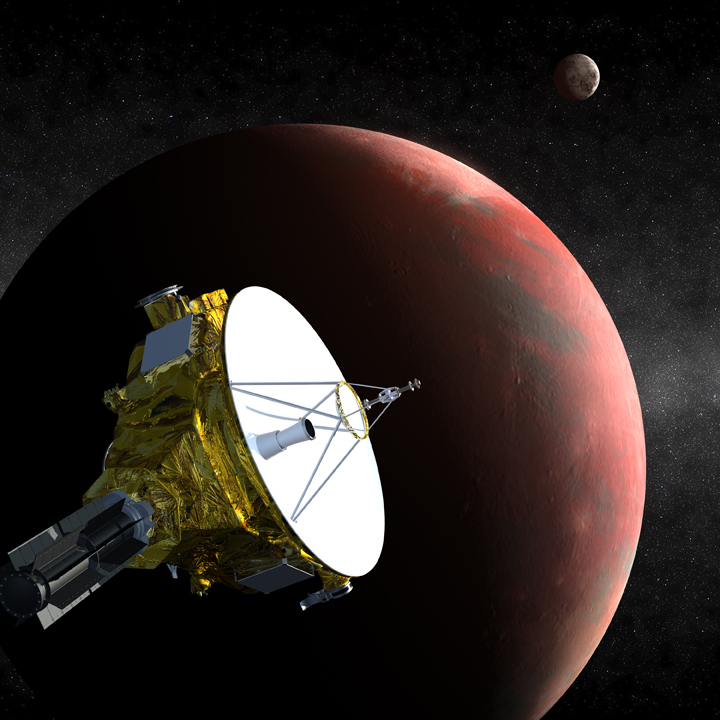 Artist's concept of the New Horizons spacecraft as it approaches Pluto and its largest moon, Charon, in July 2015. The craft's miniature cameras, radio science experiment, ultraviolet and infrared spectrometers and space plasma experiments will characterize the global geology and geomorphology of Pluto and Charon, map their surface compositions and temperatures, and examine Pluto's atmosphere in detail. The spacecraft's most prominent design feature is a nearly 7-foot (2.1-meter) dish antenna, through which it will communicate with Earth from as far as 4.7 billion miles (7.5 billion kilometers) away. Credit: Johns Hopkins University Applied Physics Laboratory/Southwest Research Institute (JHUAPL/SwRI)