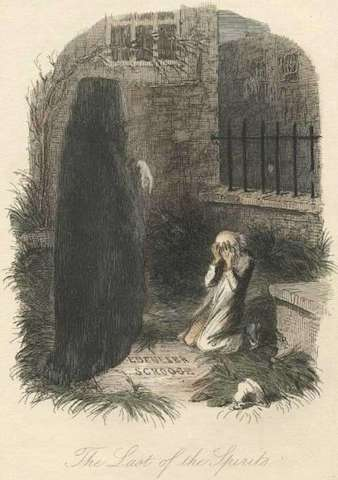 The Last of the Spirits, illustration by John Leech scanned from the original 1843 edition of 'A Christmas Carol'
