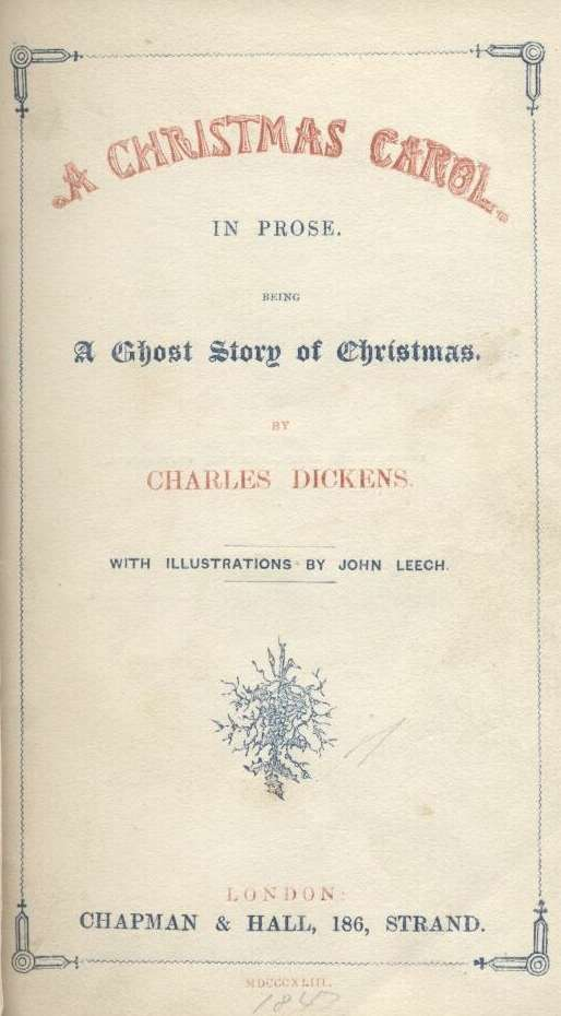 The title page from the original 1843 edition of 'A Christmas Carol'
