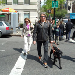 Jeff Golub and his faithful guide dog Luke on Manhattan's Upper West Side