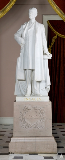 Statue of John James Ingalls in Statuary Hall, Washington, D.C. In his lifetime Ingalls had urged Kansas to place a statue of abolitionist hero John Brown in the Hall instead of his.