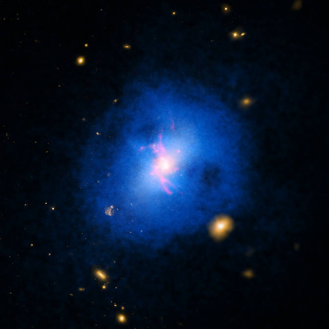 This galaxy cluster comes from a sample of over 200 that were studied to determine how giant black holes at their centers affect the growth and evolution of their host galaxy. (Photo: NASA/CXC/Michigan State Univ/M.Voit et al.)