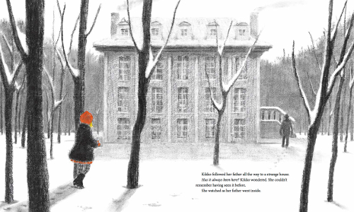 """""""Kikko followed her father all the way to a strange house. Has it always been here? Kikko wondered. She couldn't remember having seen it before. She watched as her father went inside."""" (Click to enlarge spread)"""