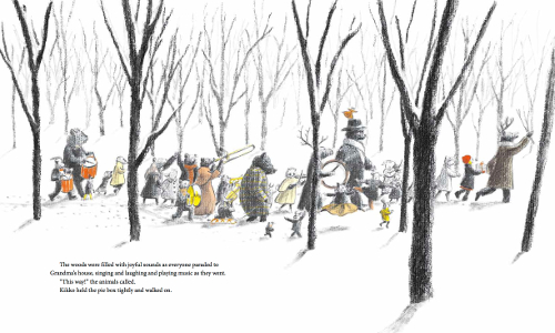 """The woods were filled with joyful sounds as everyone paraded to Grandma's house, singing and laughing and playing music as they went. 'This way!' the animals called. Kikko held the pie box tightly and walked on."" (Click to enlarge spread)"