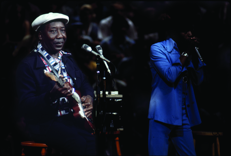 Muddy Waters, with Junior Wells on harmonica, on Blues Summit in Chicago, 1974