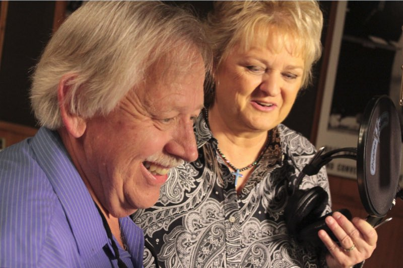 Lorraine Jordan and John Conlee in the studio during sessions for 'Common Man,' for the album Country Grass