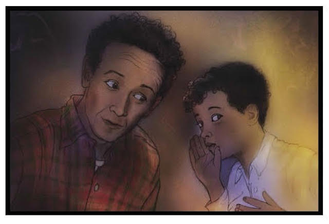 Woody Guthrie with son Arlo, warding off bedroom monsters in Arlo's book Monsters. Illustration by Kathy Garren.