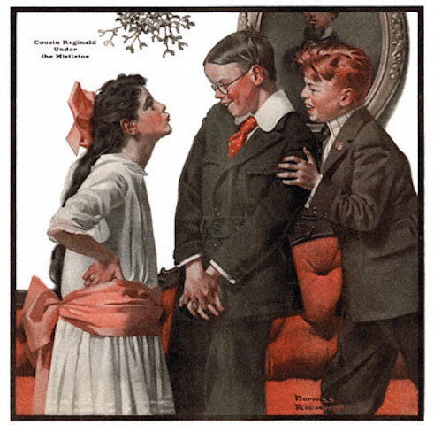 'Cousin Reginald Under the Mistletoe.' This Norman Rockwell painting, appeared on the cover of The Country Gentleman published December 22, 1917. This series of paintings gracing the cover of The Country Gentleman magazine captivated readers for two years. This was the seventh painting published in the series. In this painting, we see Reginald Claude Fitzhugh, the city cousin, being pushed under the mistletoe. He's being pushed by his country cousin Rusty Doolittle. Reginald looks quite shy and sheepish. Is this real? Or is he just pretending, hoping to endear himself to the pretty young girl under the mistletoe?