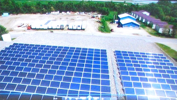 Artist rendition of rooftop solar panels to be installed on Red Lake Nation's major buildings. (Photo: Michael Meuers)