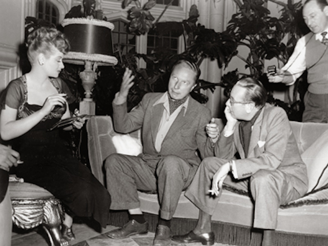 Lucille Ball, director Douglas Sirk and Cedric Hardwick on the set of Lured