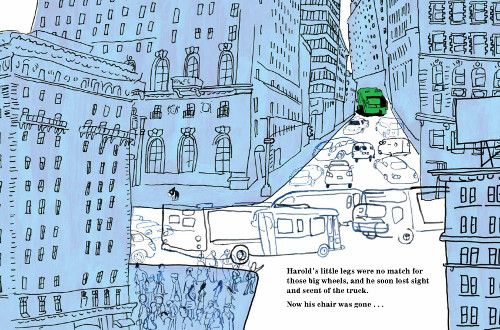 'Harold's little legs were no match for those big wheels, and he soon lost sight and scent of the truck. Now his chair was gone …' (Click to enlarge spread)