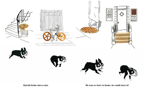 'Harold broke into a run. He was so close to home, he could taste it!' (Click to enlarge spread)