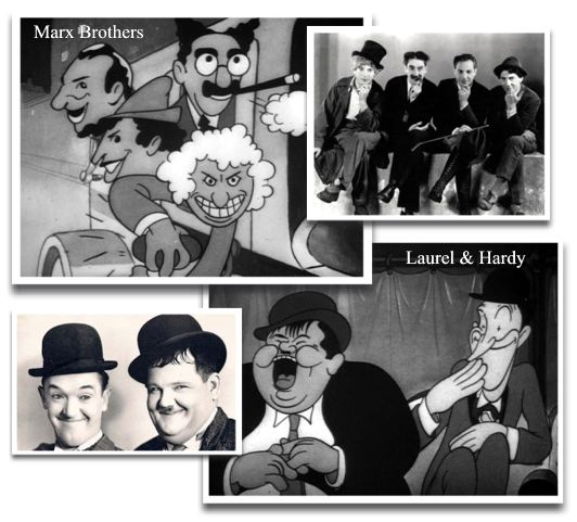 The Marx Brothers and Laurel and Hardy in Mickey's Gala Premier