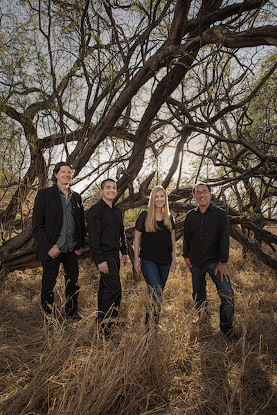 Pacific Harp Project: (from left) Jon Hawes, Alan Ward, Megan Bledsoe Ward, Noel Okimoto--striking a delicate balance between soothing and challenging...