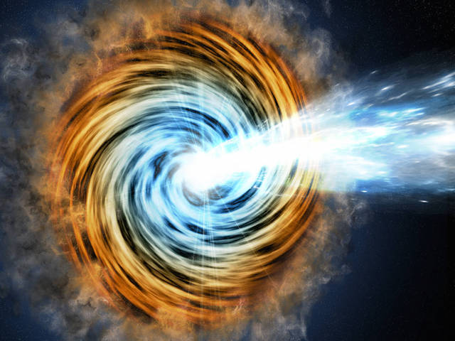 Black-hole-powered galaxies called blazars are the most common sources detected by NASA's Fermi. As matter falls toward the supermassive black hole at the galaxy's center, some of it is accelerated outward at nearly the speed of light along jets pointed in opposite directions. When one of the jets happens to be aimed in the direction of Earth, as illustrated here, the galaxy appears especially bright and is classified as a blazar. Credits: M. Weiss/CfA