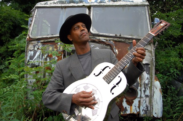 Eric Bibb (with a guitar previously owned by Bukka White): Ambassador without portfolio for an America he wants to be better