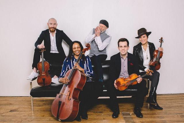 Corky Siegel's Chamber Blues (from left) Dave Moss (viola), Jocelyn Butler Shoulders (cello), Corky Siegel, Jaime Gorgojo (violin), Chihsuan Yang (violin, erhu, vocal): Nothing if not different. Photo ©+Stephanie+Bassos
