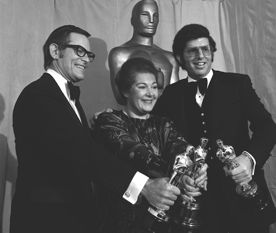 (from left) Alan Bergman, Marilyn Bergman and Marvin Hamlisch accept the 1974 Oscar for Best Song, 'The Way We Were' (Photo: ASCAP Foundation Collection, Music Division)